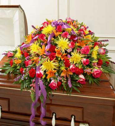 Bright Mixed Flower Half Casket Cover