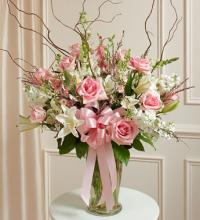 Pink and White Large Sympathy Vase Arrangement