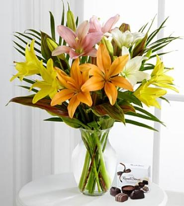 Cheerful Impressions Lily Bouquet with Chocolates